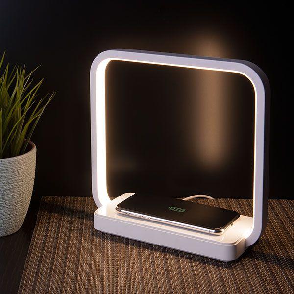 Светодиодная настольная лампа с беспроводной зарядкой QI 80502/1 белый
